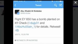 Le tweet de menace d'un sympathisant de l'EI contraint un avion d'Ethiad Airways à se dérouter