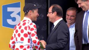 François Hollande et Thomas Voeckler sur le Tour de France le 20 juillet 2012
