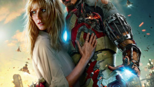 Affiche du film Iron Man 3 : Pepper Poots et Tony Stark avec Gwyneth Paltrow et Robert Downey Jr.