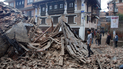 Népal : destruction à Patan après le séisme du 25/4/15