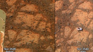Une pierre est mystérieusement apparue sur Mars, comme le montrent ces deux clichés pris à deux semaines d'écart.