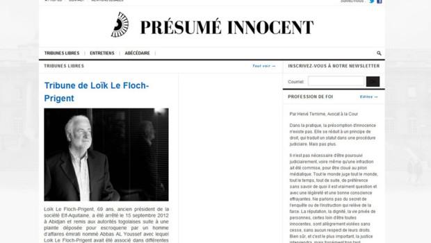 Le site presumeinnocent.com lancé jeudi par Hervé Temime.