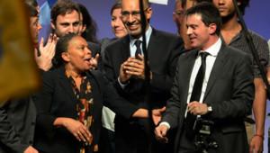 Taubira, Valls et Désir au meeting contre l'extrémisme organisé par le PS le 27 novembre