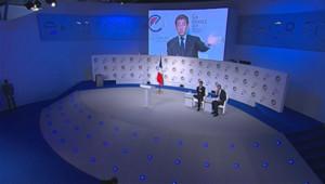 Nicolas Sarkozy à l'e-G8 aux Tuileries, à Paris