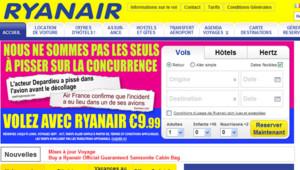 Capture du site web de ryanair.