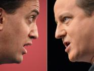 Photo-montage AFP : Ed Miliband (à. g.)/David Cameron (à d.)