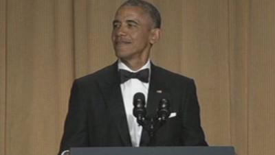 Barack Obama lors du dîner des correspondants.