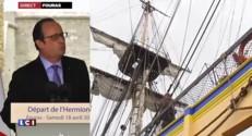 """L'Hermione : """"Une journée historique qui délivre un message de volonté"""" se félicite Hollande"""
