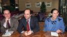 François Hollande, Pierre Moscovici et Ségolène Royal, alors ministre de l'environnement, tiennent une conférence de presse à trois pour la campagne législatives de 1993.