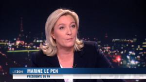"""Le 20 heures du 18 février 2015 : Marine Le Pen attaque le gouvernement sur sa """"soumission aux autorités européennes"""" - 501.763"""