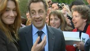 Carla Bruni et Nicolas Sarkozy à l'Elysée, lors des Journées du Patrimoine, le 20 septembre 2008