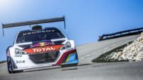La Peugeot 208 T16 Pikes Peak en essais au Mont Ventoux le 14 mai 2013, avec Sébastien Loeb au volant.