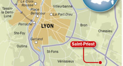 Carte avec Saint Priest