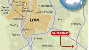 Carte avec Saint Priest