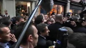 Nicolas Sarkozy dans les rues de Bayonne