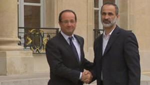 François Hollande et Ahmad Moaz al-Khatib, le 17/11/12, à l'Elysée