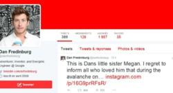 Compte twitter de Dan Fredinburg, avec le tweet de sa soeur confirmant sa mort, 24/4/15