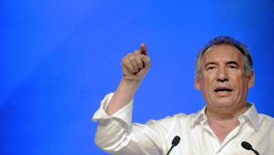 François Bayrou lors de l'Université de rentrée du MoDem le 21 septembre 2014 à Guidel dans le Morbihan