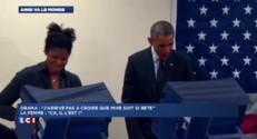 """Que fait Obama quand on lui dit """"Ne touchez pas à ma femme"""" ? Les images"""