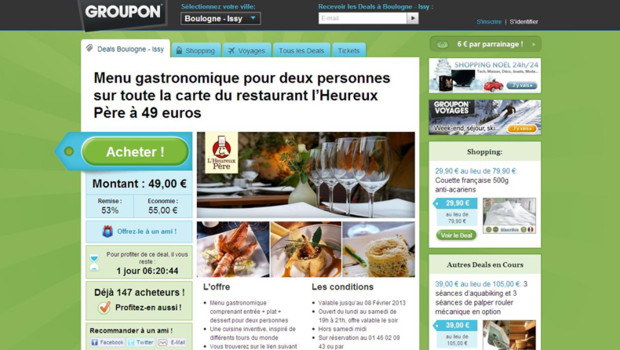 Capture du site Groupon le 9 novembre 2012