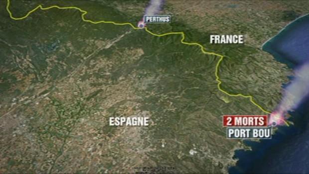 Tracé du parcours de l'incendie qui ravage le Nord-Est de l'Espagne.
