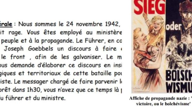 Sujet publié sur le site du rectorat de Bordeaux proposant de rédiger un discours pour le 3e Reich