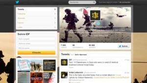 Compte twitter en anglais de l'armée israélienne, 15/11/12, en milieu d'après-midi