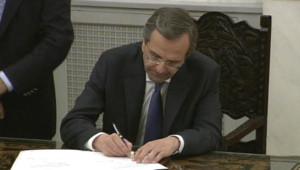 Grèce : Antonis Samas prête serment comme Premier ministre à Athènes, le 20/6/12