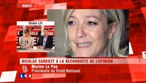 """Marine Le Pen : Sarkozy """"ne devrait pas se représenter"""""""