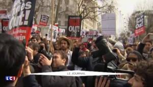 Grande-Bretagne : des manifestants réclament la démission de David Cameron