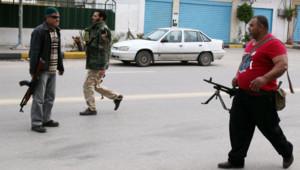 Libye : miliciens à Tripoli, janvier 2012