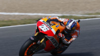 Dani Pedrosa (Honda), lors des Qualifications du GP Moto d&#039;Espagne, le 4 mai 2013.