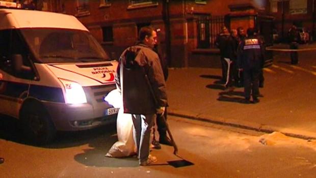 Le lieu du meurtre d'un jeune homme, abattu à Lille (12 décembre 2009)