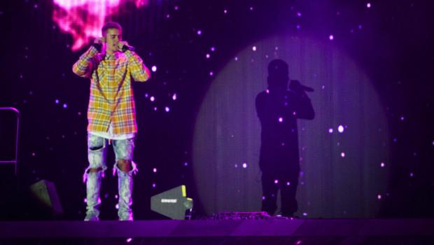 Justin Bieber sur la scène du V Festival à Hylands Park, à Chelmsford en Angleterre, le 20 août 2016.