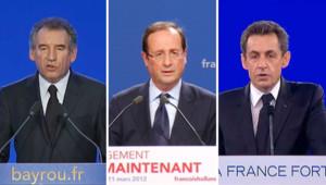 François Bayrou, François Hollande et Nicolas Sarkozy