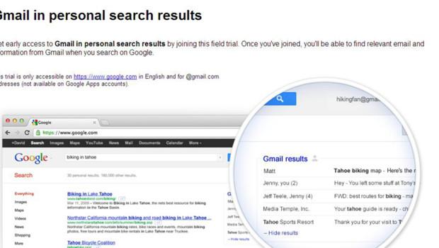 Google intègre nos mails aux résultats de nos recherches