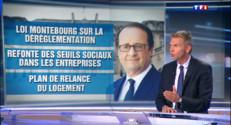 """Le 13 heures du 20 août 2014 : Hollande annonce des mesures : """"On ne sent pas encore la puissance des chevaux sous le capot"""" - 423.15999999999997"""