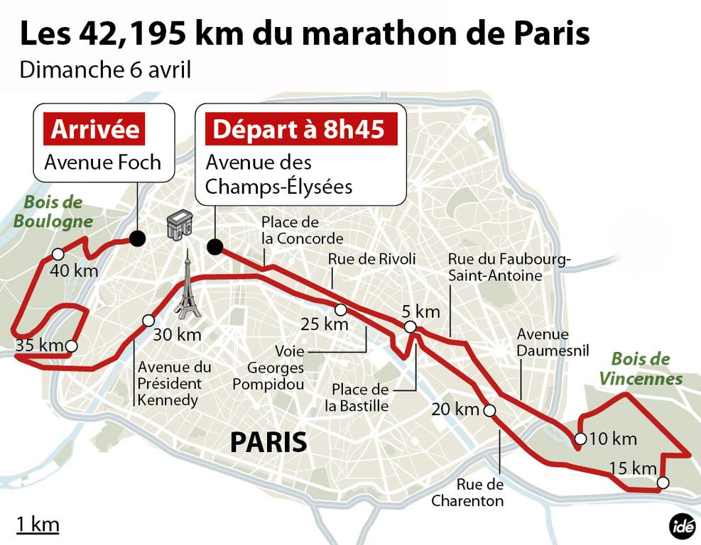 Le parcours du 38e marathon de Paris