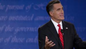 Mitt Romney lors de son premier débat télévisé avec Barack Obama à Denver (4 octobre 2012)
