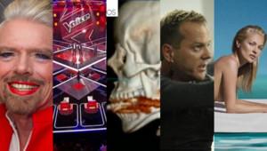 De gauche à droite : Richard Branson, The Voice, la photo du harpon dans la gorge d'une femme, Jack Bauer, Kate Moss