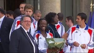 Les athlètes français médaillés à Barcelone reçus à l'Elysée (3 août 2010)