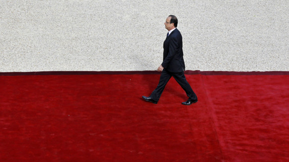 François Hollande arrivant à l'Elysée pour son investiture, le 15 mai 2012.