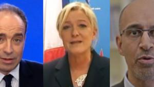 Jean-François Copé, Marine Le Pen et Harlem Désir lors de leurs voeux pour la nouvelle année, le 31 décembre 2012.