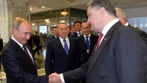 Vladimir Poutine et Petro Porochenko, le 26/8/14, à Minsk