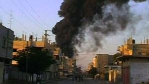 Fumée d'incendie à Gaza pendant les raids israéliens (28 décembre 2008)