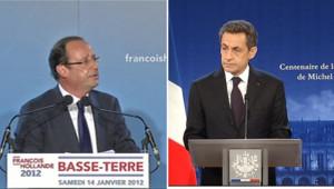 François Hollande en Guadeloupe et Nicolas Sarkozy à Amboise, le 15 janvier 2012.