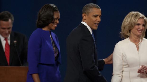 De g. à d. : Mitt Romney, Michelle Obama, Barack Obama et Ann Romney, lors du débat télévisé du 3/10/12