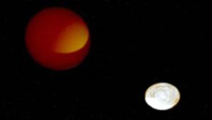 """Des astronomes ont obtenu les premières images d'une étoile """"cannibalisée"""" par sa compagne stellaire."""