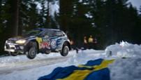 Le Norvégien Andreas Mikkelsen au volant de sa Volkswagen Polo R WRC lors du Rallye de Suède 2015.