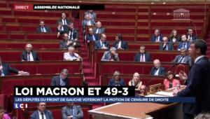"""Motion de censure : Valls """"assume"""" le recours au 49-3 pour faire passer la loi Macron"""